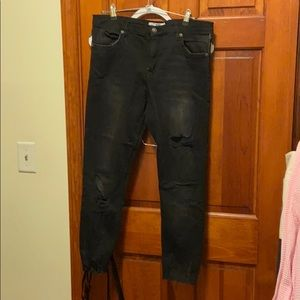 Free People Ripped Black Skinny Jeans